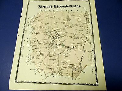 Antique 1870 map of North Brookfield Ma. by Beers.