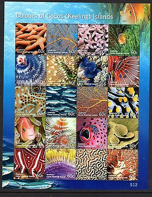2011 COCOS ISLANDS COLOURS MARINE LIFE sheetlet mint unhinged