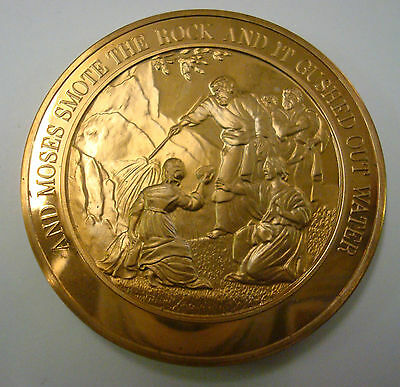 BIBLICAL BRONZE MEDAL / MEDALLION - Moses produces water
