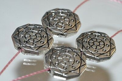 4Pcs 13x2mm Unique Geometric Pattern~925 Sterling Silver Coin Spacer Beads J1071