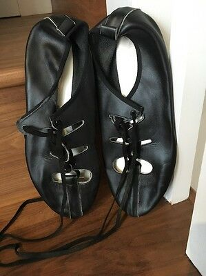 Men's Scottish Country Dancing Shoes Black Leather Size 8