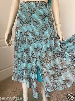 George Size 10  Duck Egg/brown/grey/white Skirt Elasticated Waist Perfect Cond.