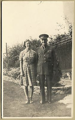 1930's era Postcard - Army Officer in the garden with his wife.