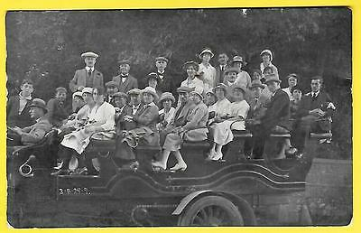 1920 Postcard - Group of people sitting on a charabanc - Jersey