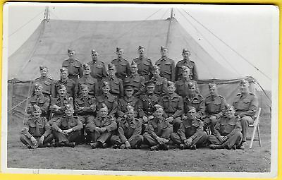 WW2 era Postcard - Group of British Soldiers outside a Marquee.