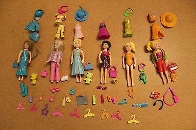BUNDLE OF FASHION POLLY POCKET DOLLS x 6 WITH OUTFITS ACCESSORIES
