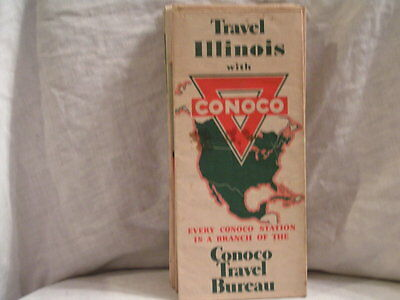 1936 Conoco Road Map For Illiniois