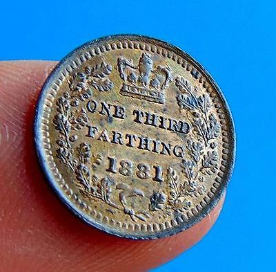 A  LUSTRED  UNC    1881  THIRD  FARTHING  1/3rd  of  a  1/4d....LUCIDO_8  COINS