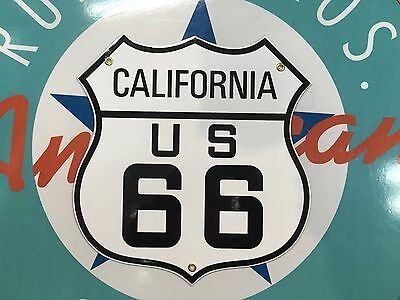 diecut ROUTE 66 CALIFORNIA highway sign  - PORCELAIN retro COATED SIGN