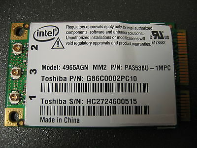 Intel Wireless WiFi Link 4965AGN Modelo 4965AGN MM2 PA3538U-1MPC G86C0002PC10