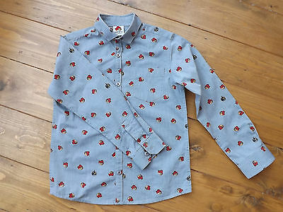 Next grey angry birds print collared shirt in age 8 years, MINT