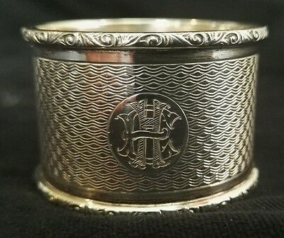 Solid Heavy Sterling Silver H/M 1938 BIRM Engine Turned Napkin ring initials EH