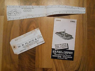 Old Vintage 1866 1942 W.B. Place & Co Leathers Goods Tanners Hartford Wisconsin