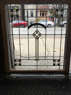 "Antique 1920's Chicago Bungalow Stained Leaded Glass Window 34"" by 29"""