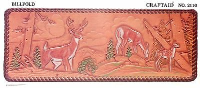 """Leather """"Craftaid"""" Hard Plastic Tooling Pattern #2110 Deer in Woods NEW!"""