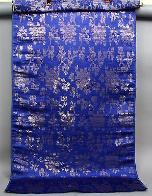 "Antique Silk Fabric Dark Blue Metallic Iridescent Floral Pattern 29"" x 72"""