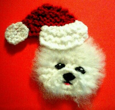 knitted Christmas bichon frise brooch NEW !