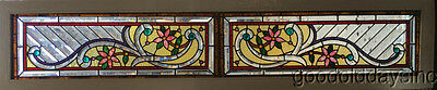 "Victorian Style Stained & Beveled Glass Transom Window w/ Jewels 75"" by 17"""