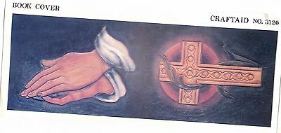 "Leather ""Craftaid"" Hard Plastic Tooling Pattern #3120  Praying Hands/Cross  NEW!"