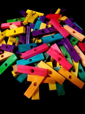 """40 Wood Blocks 2"""" Colored Wooden Parrot Bird Toy Parts W/ 1/4"""" Hole"""