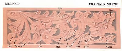 """Leather """"Craftaid"""" Hard Plastic Tooling Pattern #4200 Classic Flowers/Leaf  NEW!"""