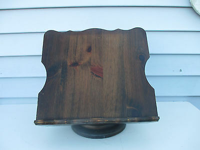 Vintage Adjustable Wood Cook Book Stand Lecturn with Revolving Base