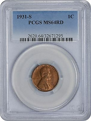 1931-S Lincoln Cent MS64RD PCGS Mint State 64 Red
