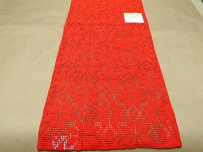 """Swedish Cotton Poly Table Runner Red Lace 13"""" x 36"""" Woven in Sweden"""
