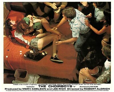 The Choirboys original lobby card crowd surrounds couple on bed
