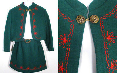 Vintage GIRL'S GERMAN HOLIDAY SET Outfit Children's Green Wool Skirt Jacket 6/7
