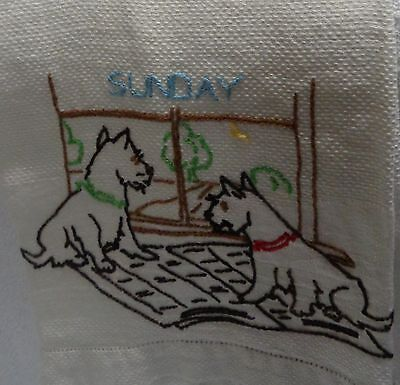 Scotty Scottie Dogs Looking Out The Window   Day Of the Week White Kitchen Towel