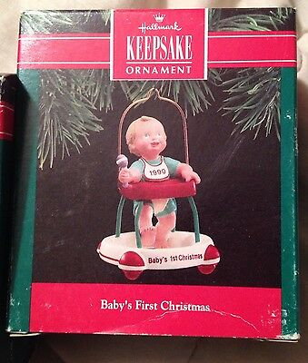 1990 Handcrafted Hallmark Baby's First Christmas Ornament NIB