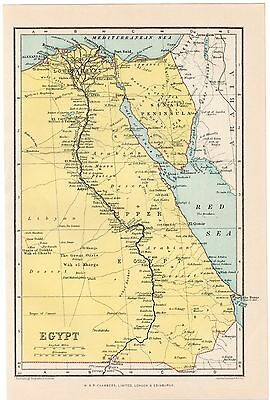 Original Egypt Map From A 1925 Encyclopaedia