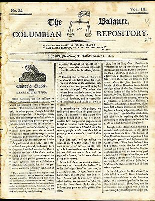1804 Issue COLUMBIAN REPOSITORY Devoted to Life of ALEXANDER HAMILTON