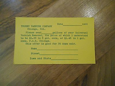 Antique 1903 Tousey Varnish Co Chicago Illinois Universal Remover Order Postcard