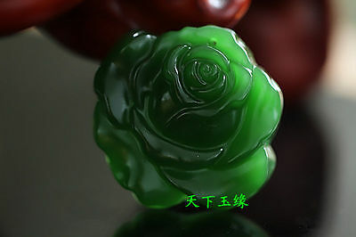 Exquisite China hand carved natural green jade pendant- Rose