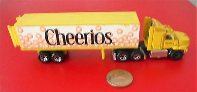 Mini CHEERIOS Toy truck & trailer Ford Aeromax 1991 Matchbox back doors open