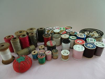 Lot Of Wooden & Plastic Sewing Thread Spools, Pin Cushion & Buttons
