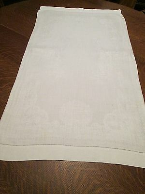 (M) Vintage Off-White Linen Blend Damask Table Runner, 36 x 20""