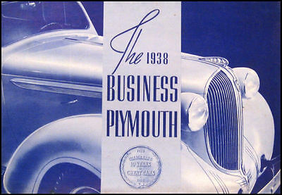 1938 Plymouth Business Cars Original Sales Brochure 38