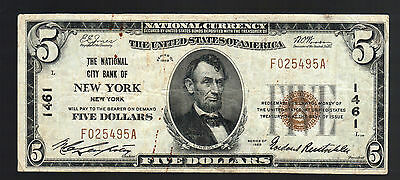 $5 DOLLAR 1929 NATIONAL CITY BANK NEW YORK Currency Old US Paper Money Bill Note
