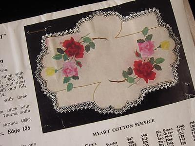 Unworked Vintage Myart Rose Spray Traced Linen Centrepiece Doily to Embroider