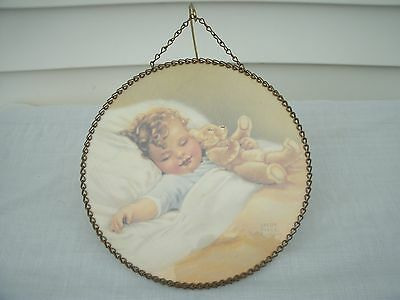 Vintage  Chimney Flue Cover -Baby Boy with Teddy Bear---Bessie Pease Gutman