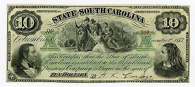 1873 $10 The State of SOUTH CAROLINA Note UNC