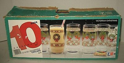 10 Indiana Glass Victorian Christmas Coolers Tumblers Drinking in Original Box