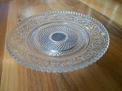 Old Vintage Sandwich Glass Plate Crystal Clear Footed Bottom Made in China 5 3/4