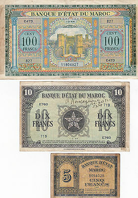 LOT OF THREE VINTAGE MOROCCO NOTES 1940's