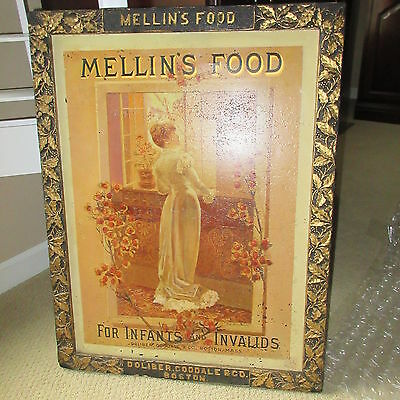 MELLIN's FOOD Antique Advertising TIn Sign 1884 Infants & Invalids Boston MA WOW