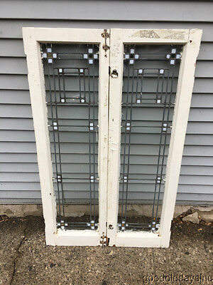 "Two Antique Prairie Style Stained Leaded Glass Doors Windows 45"" 14"" Arts Crafts"