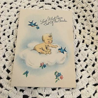 Vintage Greeting Card Cute Baby Gibson Blue Birds